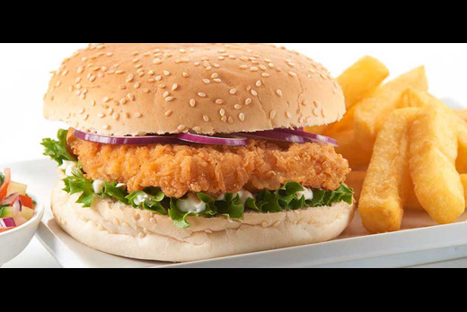 Chicken Sizzler Burger with Chips+ - Salad Delivery in Millfield PE1